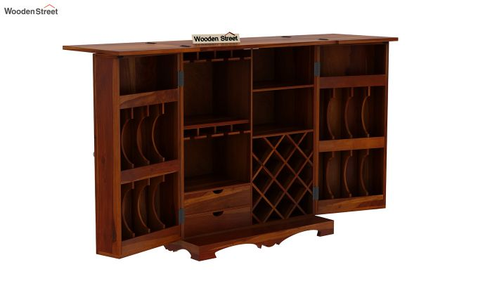 Boho Bar Cabinet (Walnut Finish)-10