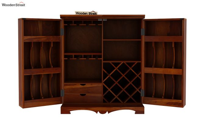 Boho Bar Cabinet (Walnut Finish)-11