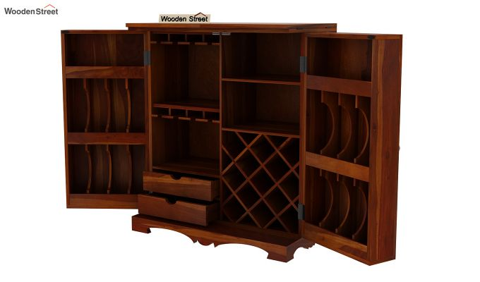 Boho Bar Cabinet (Walnut Finish)-12