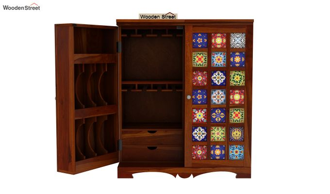 Boho Bar Cabinet (Walnut Finish)-13