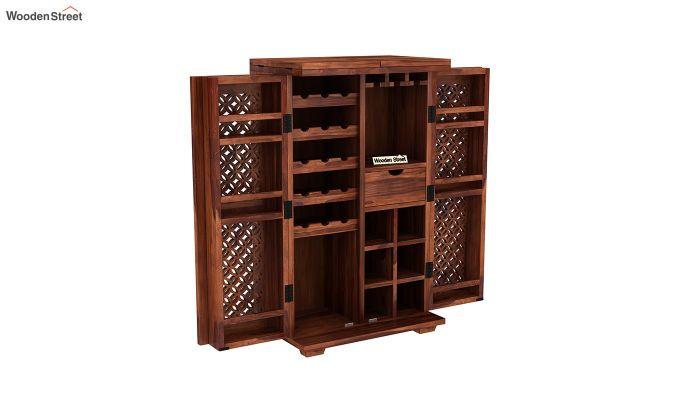 Cambrey Bar Cabinet (Honey Finish)-6
