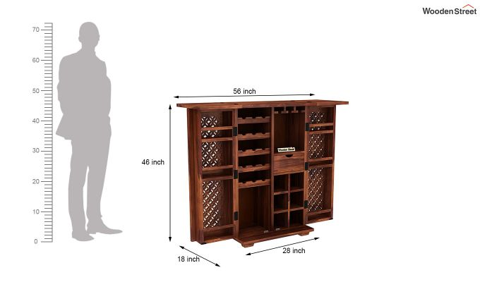 Cambrey Bar Cabinet (Honey Finish)-8