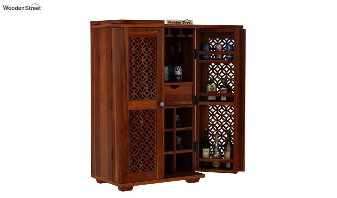 Cambrey Bar Cabinet (Honey Finish)-4
