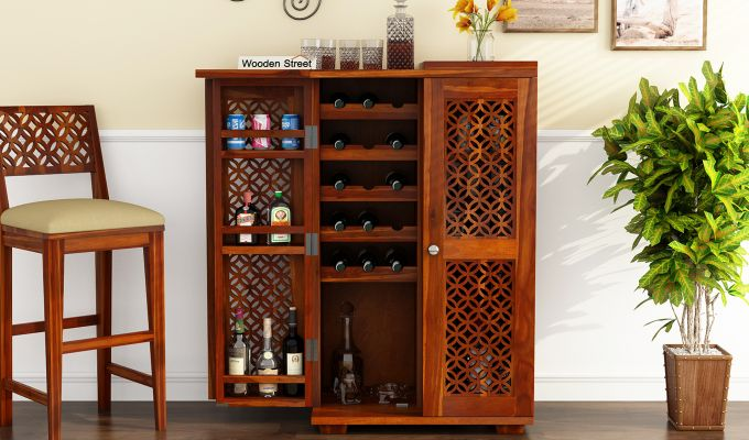 Cambrey Bar Cabinet (Honey Finish)-3