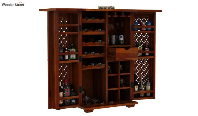 Cambrey Bar Cabinet (Honey Finish)-6
