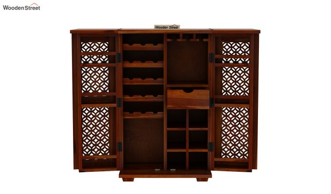 Cambrey Bar Cabinet (Honey Finish)-9