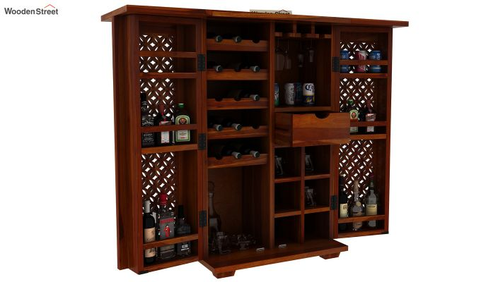 Cambrey Bar Cabinet (Honey Finish)-11