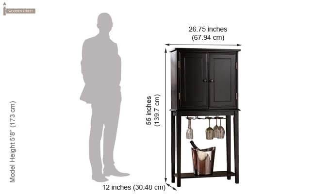 Celise Bar Cabinet (Black Finish)-4
