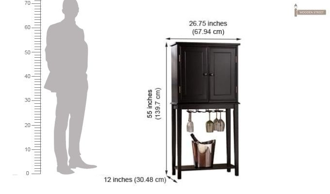 Celise Bar Cabinet (Black Finish)-4