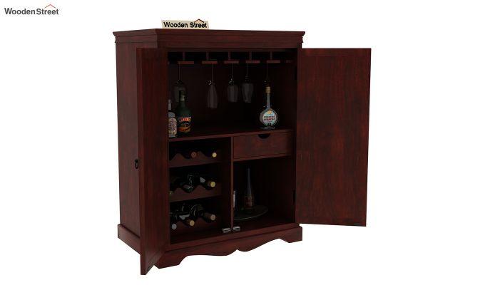 Emboss Bar Cabinet (Mahogany Finish)-5