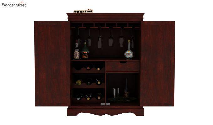Emboss Bar Cabinet (Mahogany Finish)-6