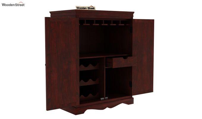 Emboss Bar Cabinet (Mahogany Finish)-7