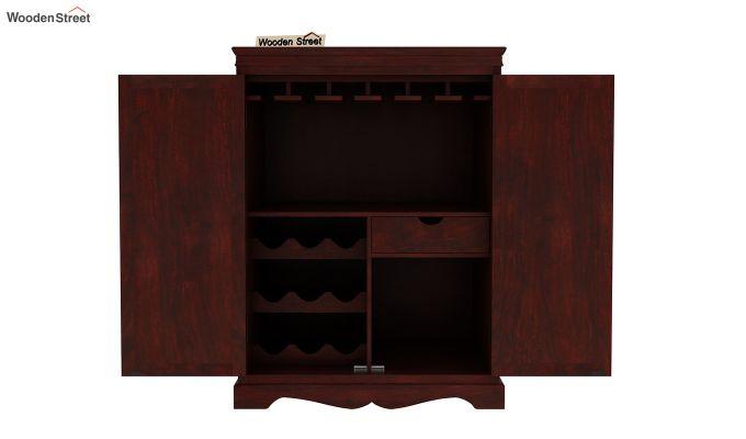Emboss Bar Cabinet (Mahogany Finish)-8