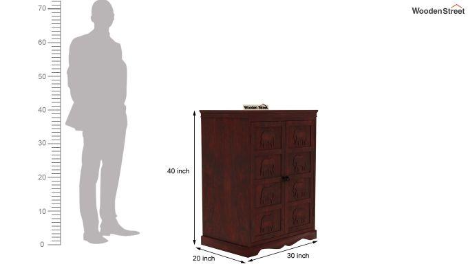 Emboss Bar Cabinet (Mahogany Finish)-9