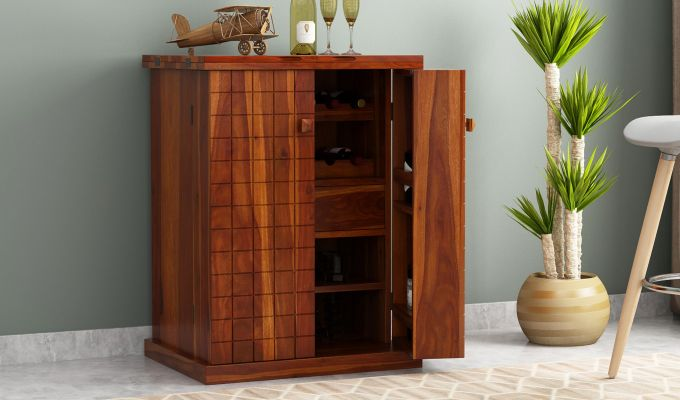 Felisa Bar Cabinet (Honey Finish)-1