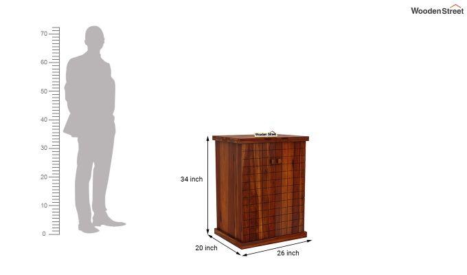 Felisa Bar Cabinet (Honey Finish)-7