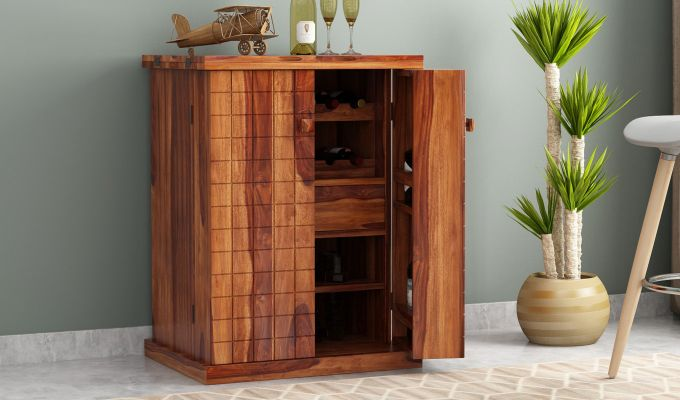 Felisa Bar Cabinet (Teak Finish)-1