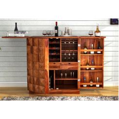 Auric Large Bar Cabinet (Teak Finish)