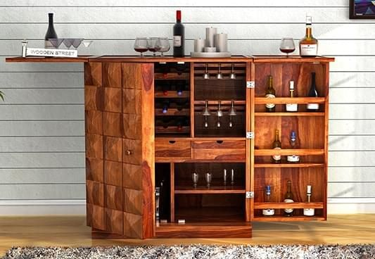 Bar cabinet online buy wooden bar cabinet online at best for Wooden bar unit