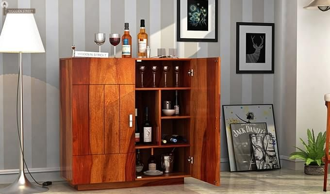 Gormley Bar Cabinet (Honey Finish)-1