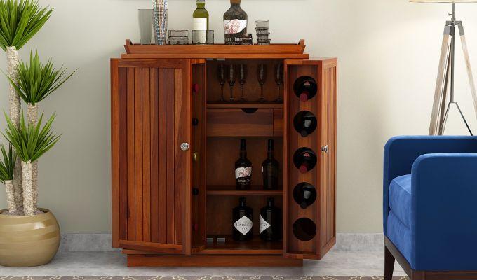 Hampton Bar Cabinet (Honey Finish)-2