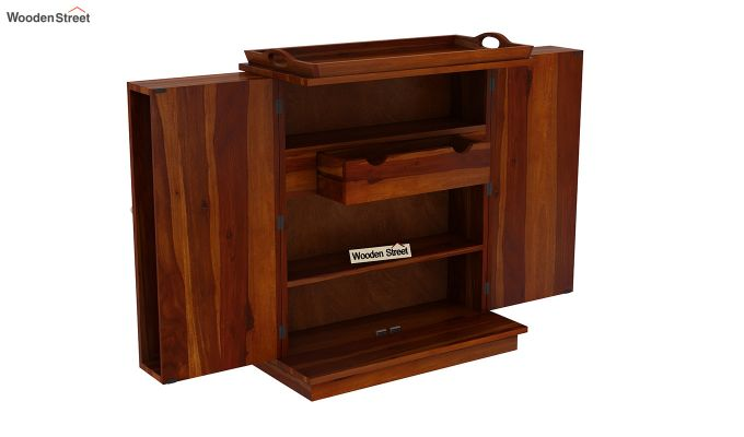 Hampton Bar Cabinet (Honey Finish)-5