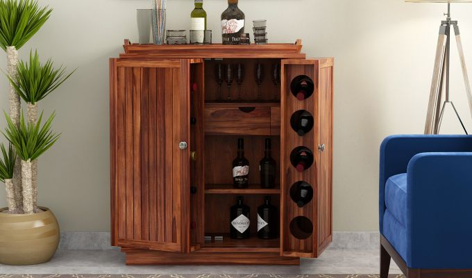 Hampton Bar Cabinet (Teak Finish)-2