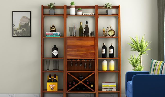 Heather Bar Cabinet (Honey Finish)-2