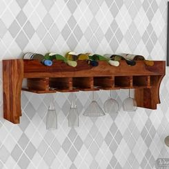 Hobart Wine Rack (Teak Finish)