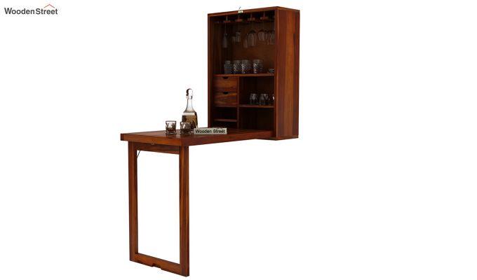 Holger Wall Mounted Bar Cabinet (Honey Finish)-3