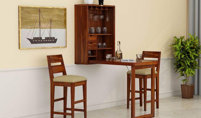 Holger Wall Mounted Bar Cabinet (Honey Finish)-1