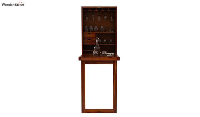 Holger Wall Mounted Bar Cabinet (Honey Finish)-4