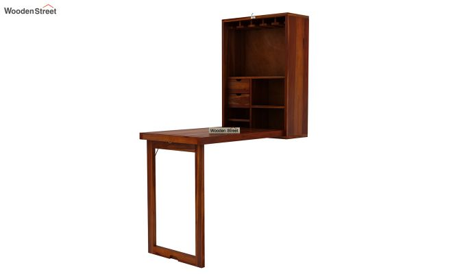 Holger Wall Mounted Bar Cabinet (Honey Finish)-5