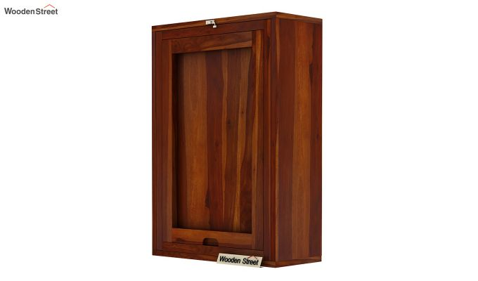 Holger Wall Mounted Bar Cabinet (Honey Finish)-6