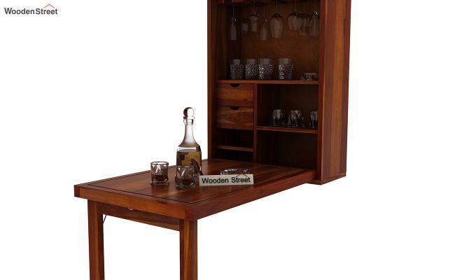 Holger Wall Mounted Bar Cabinet (Honey Finish)-8