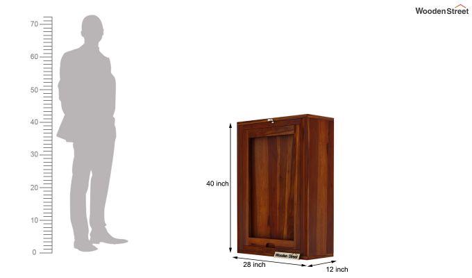 Holger Wall Mounted Bar Cabinet (Honey Finish)-9