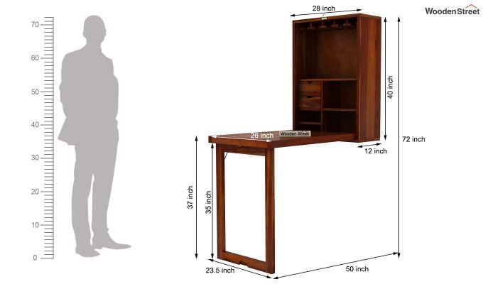 Holger Wall Mounted Bar Cabinet (Honey Finish)-10