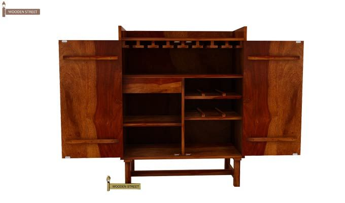 Keinz Bar Cabinet (Honey Finish)-3