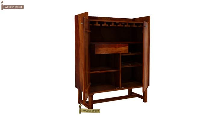 Keinz Bar Cabinet (Honey Finish)-4