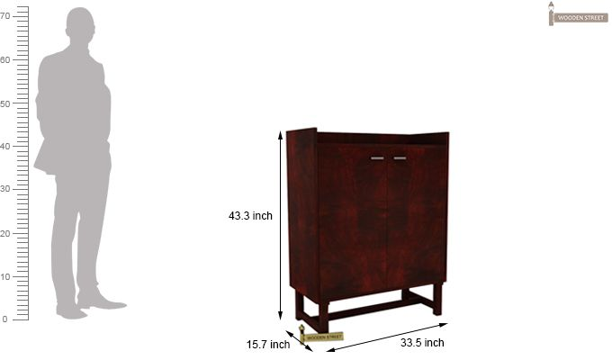Keinz Bar Cabinet (Mahogany Finish)-5
