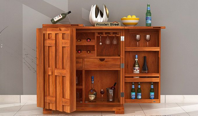 Malus Bar Cabinet (Honey Finish)-1