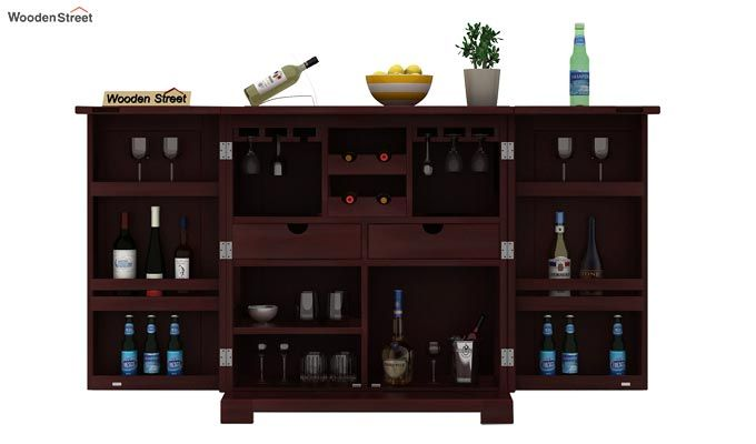 Malus Bar Cabinet (Mahogany Finish)-2