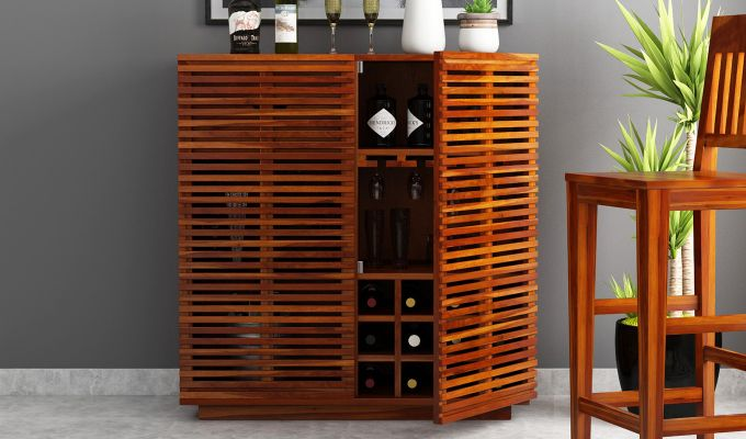Milo Bar Cabinet (Honey Finish)-2