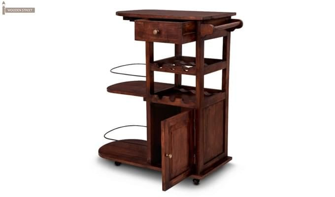 Slany Bar Trolley (Teak Finish)-2