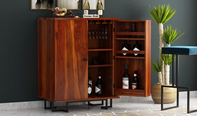 Zimer Bar Cabinet (Honey Finish)-1
