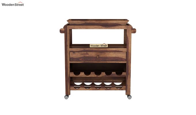 Hesper Bar Trolley (Teak Finish)-3