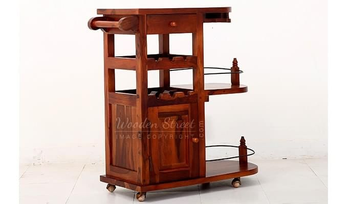 Slany Bar Trolley (Honey Finish)-5