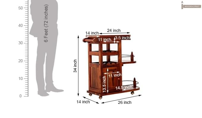 Slany Bar Trolley (Honey Finish)-13