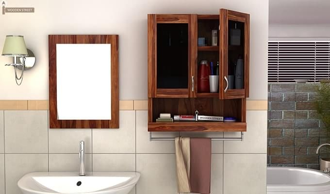 Davies Bathroom Cabinet (Teak Finish)-1