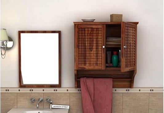 Wooden bathroom shelves India